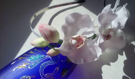 Ободок для волос с Белыми орхидеями ручной работы ручной работы на заказ