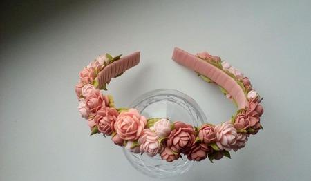 """Ободок для волос из маленьких роз """"Катрин"""" ручной работы на заказ"""