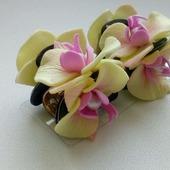 РАСПРОДАЖА! Крабики для волос с маленькими орхидеями и натур. жемчугом