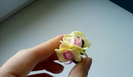 РАСПРОДАЖА! Крабики для волос с маленькими орхидеями и натур. жемчугом ручной работы на заказ