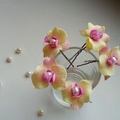 Маленькие орхидеи на шпильках с натуральным жемчугом