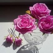 Набор шпилек для волос с розами ручной работы