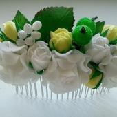 Гребешок для волос из белых роз