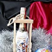 Набор новогоднее шампанское в деревянной упаковке