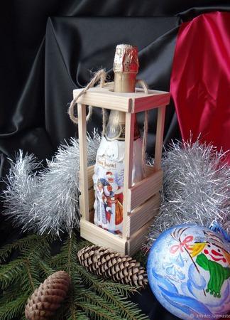 Набор новогоднее шампанское в деревянной упаковке ручной работы на заказ