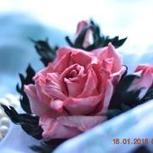 Роза брошь из кожи Жоржетта украшение из кожи