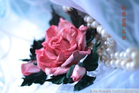 Роза брошь из кожи Жоржетта украшение из кожи ручной работы на заказ