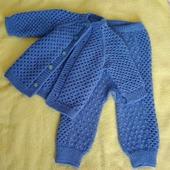Описание вязания костюмчика «Кнопка» для малыша. «Реглан сверху». Размер: от 3 до 9 месяцев, обхват