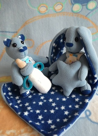 Звезднышки зайка Ангелина и мишутка Савушка ручной работы на заказ