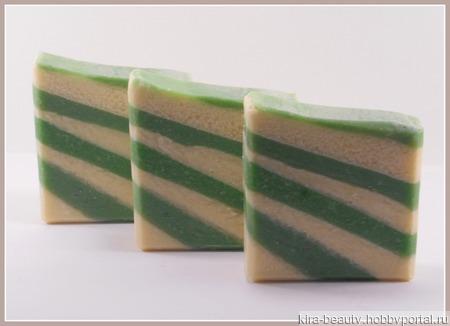 Зеленый клевер и алоэ. Натуральное мыло с шёлком ручной работы на заказ