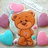 Пряник Влюбленный медвежонок, валентинка.