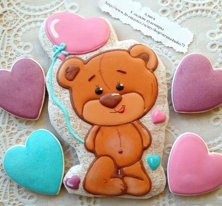Пряник Влюбленный медвежонок, валентинка. ручной работы на заказ