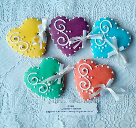 Печенье СЕРДЕЧКИ, свадьба, юбилей, день рождения. ручной работы на заказ