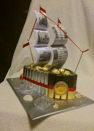 Корабли из конфет ручной работы на заказ