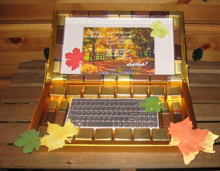 Ноутбук из конфет ручной работы на заказ