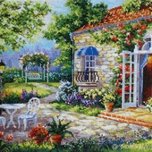 Картина Дом Мечты 30х38.5 вышита