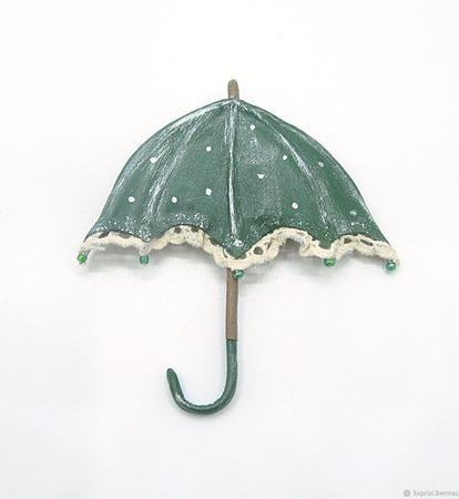 Брошь из кожи Зонтик ручной работы на заказ