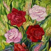 Картина Розы холст масло 75х56см