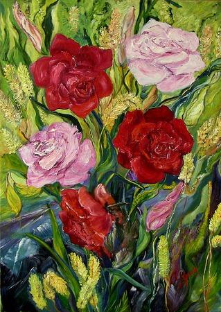Картина Розы холст масло 75х56см ручной работы на заказ