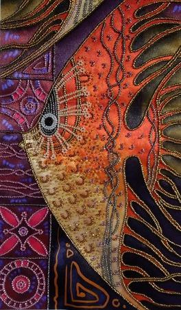 """Картина """"Рыбы золотом горят"""", вышитая бисером. ручной работы на заказ"""