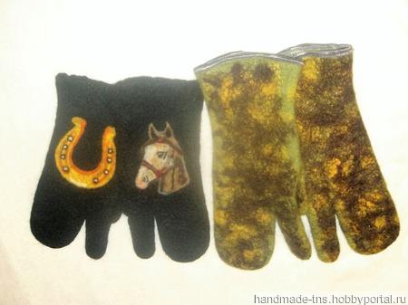 Рукавицы войлочные трёхпалые подарочные женские, мужские, детские. ручной работы на заказ