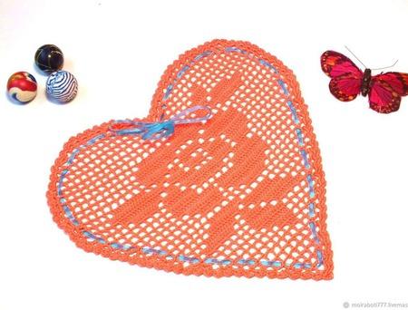 Салфетка-валентинка с розой ручной работы на заказ