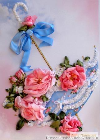 Розовый зонтик ручной работы на заказ