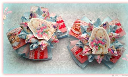 Бантики детские Мамина зайка ручной работы на заказ