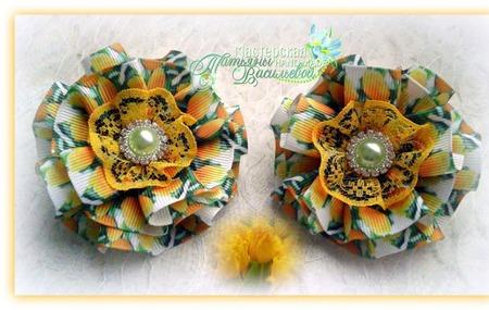 Бантики Тюльпаны жёлтые ручной работы на заказ