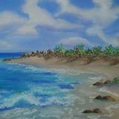 """Картина пастель """"Пустынный пляж"""""""