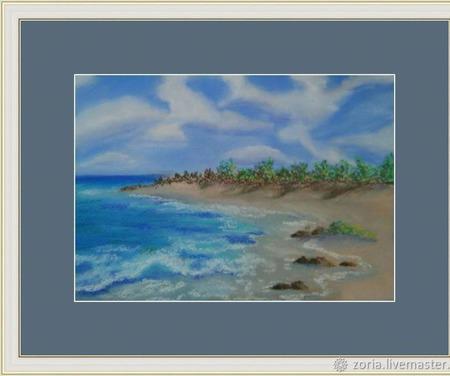 """Картина пастель """"Пустынный пляж"""" ручной работы на заказ"""