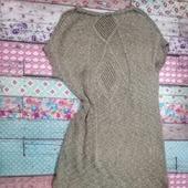 Платье спицами с удлиненной спинкой