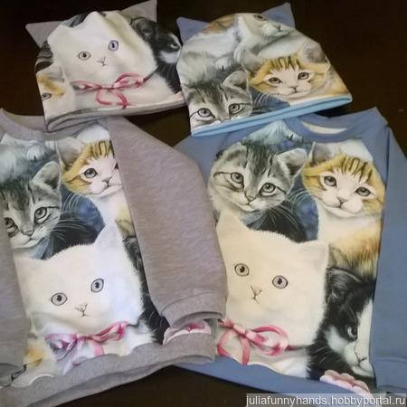 Свитшоты котики ручной работы на заказ