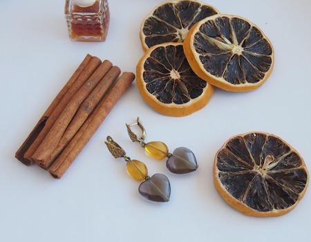 """Серьги """"Апельсин и корица"""" ручной работы на заказ"""