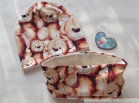 Комплект шапочка+снуд Мишки ручной работы на заказ