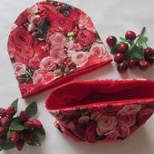 Комплект шапочка+снуд Цветы