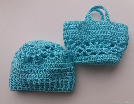 Шапочка и сумочка для куклы ручной работы на заказ