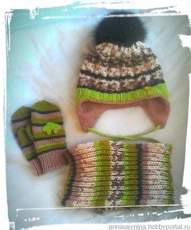 Комплект зимний шапка и снуд ручной работы на заказ