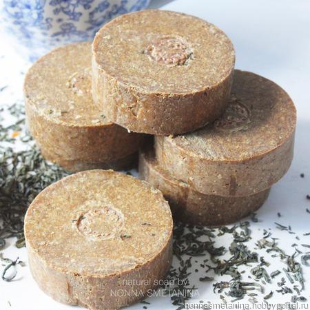 Шампуневое мыло натуральное с зеленым чаем для нормальных и комбинированных волос ручной работы на заказ