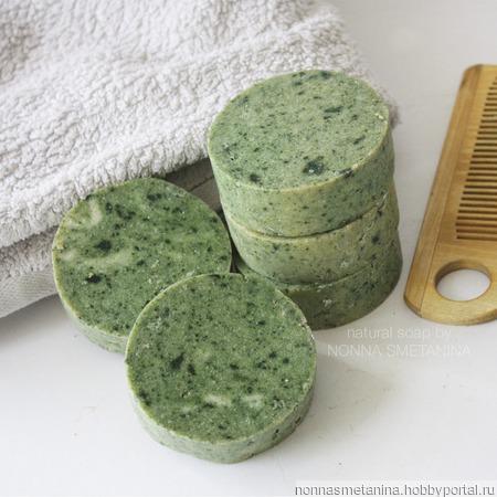 Шампуневое мыло натуральное со спирулиной ручной работы на заказ