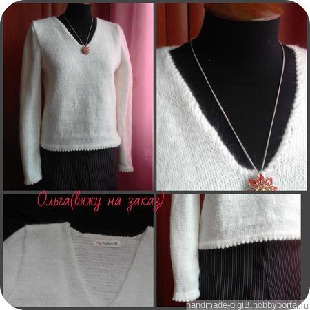 """Пуловер""""Первый снег"""" ручной работы на заказ"""