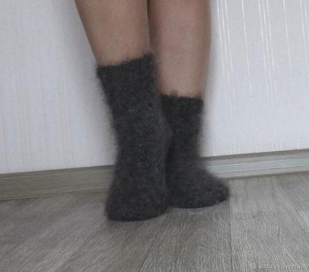 """Носки пуховые""""Зимушка-5""""-вязанные,теплые. ручной работы на заказ"""