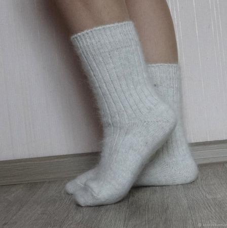 """Носки шерсть с пухом""""Зимушка - 4""""-вязанные,теплые. ручной работы на заказ"""