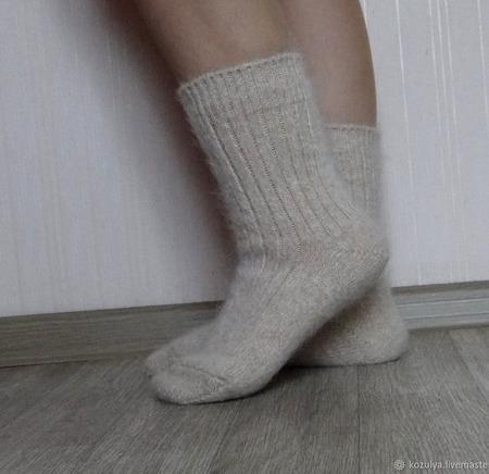 """Носки шерсть с пухом""""Зимушка - 3""""-вязанные,теплые. ручной работы на заказ"""