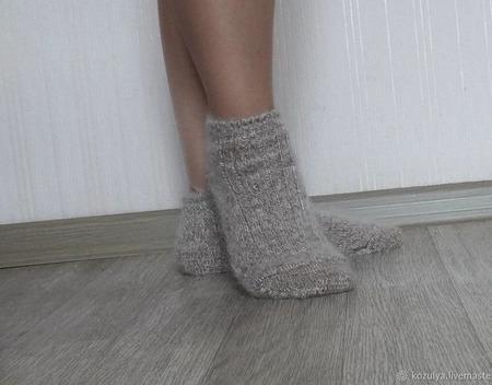 Носки  укороченные шерсть с пухом ручной работы на заказ