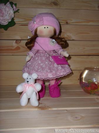 Куколка Аллочка с медвежонком ручной работы на заказ