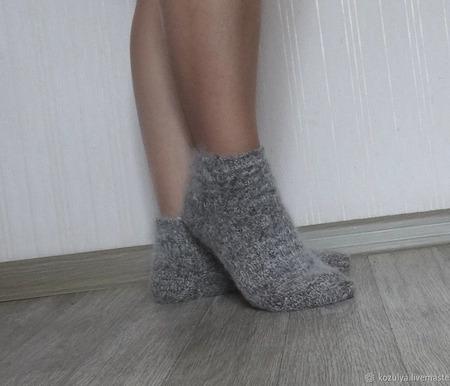 Носки  укороченные шерсть с пухом №1 -вязанные,теплые. ручной работы на заказ