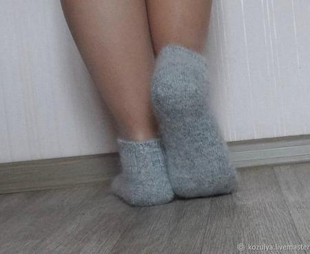 Носки  укороченные шерсть с пухом №2 -вязанные,теплые. ручной работы на заказ