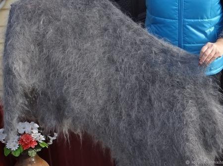 Пуховый вязанный палантин,шарф.Козий пух. ручной работы на заказ