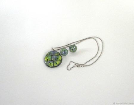 Комплект серьги кулон из декоративного стекла Прованс. Фьюзинг ручной работы на заказ